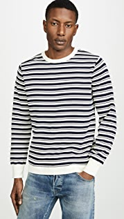 J. Crew Allover Double Stripe Crew Neck Sweatshirt