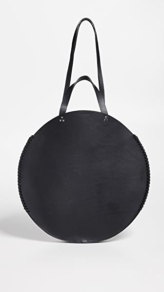 Hector Mini Leather Circle Bag - Black in Noir