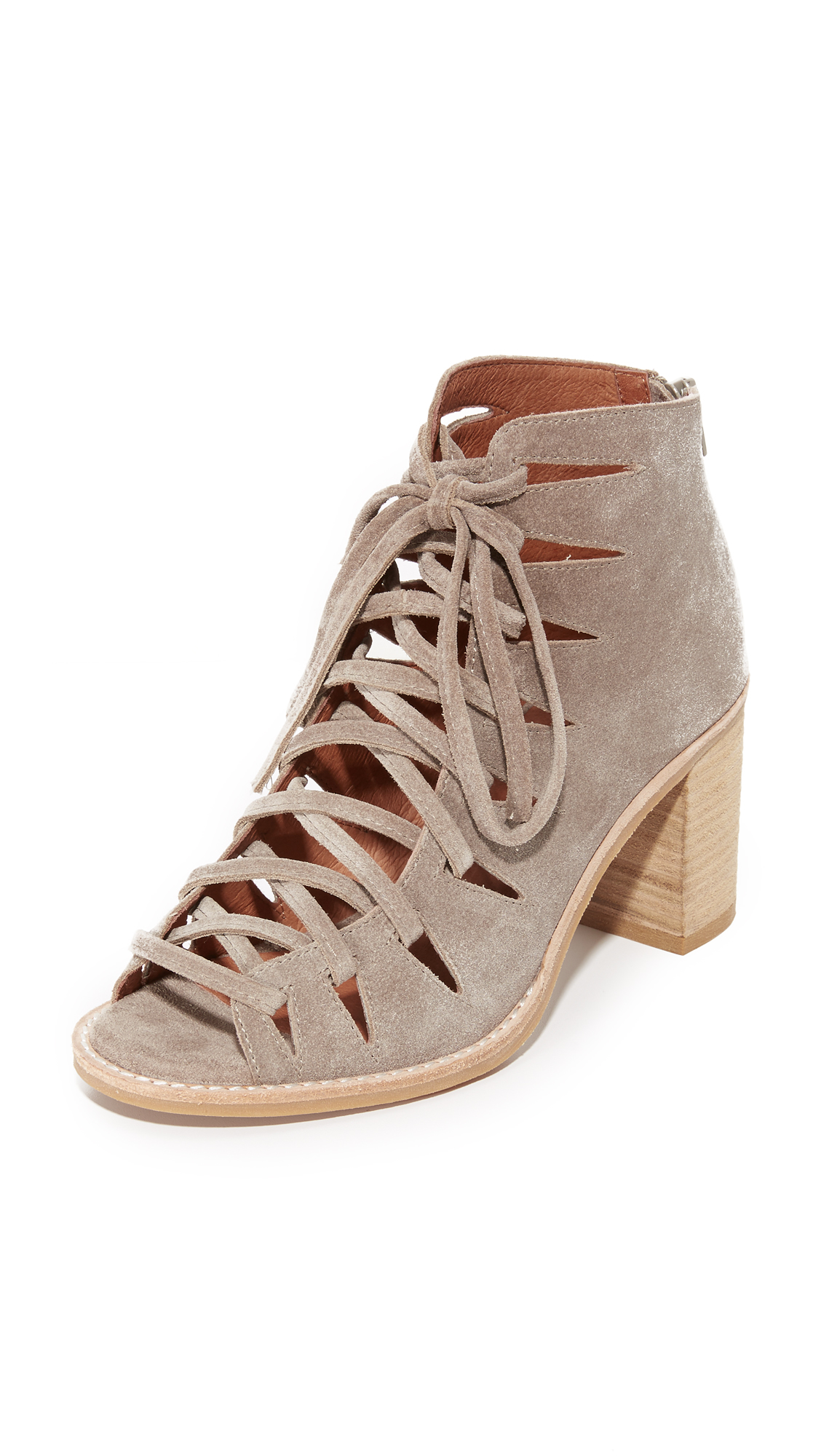 Jeffrey Campbell Corwin Lace Up Booties - Taupe