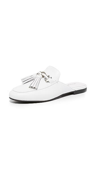 Jeffrey Campbell Apfel Tassel Mules - White/Silver