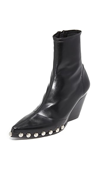 Jeffrey Campbell Walston Studded Booties - Black/Silver