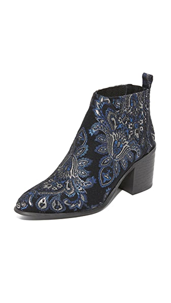 Jeffrey Campbell Viggo Brocade Booties - Blue/Black/Rose
