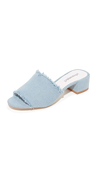 Jeffrey Campbell Beaton Denim Mules - Light Blue Denim