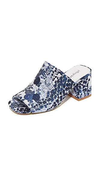 Jeffrey Campbell Perpetua Brocade Mules - Blue White Floral