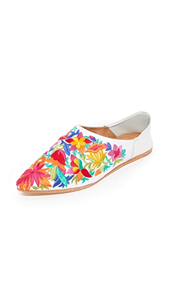 Jeffrey Campbell Vijay Embroidered Flats - White Multi