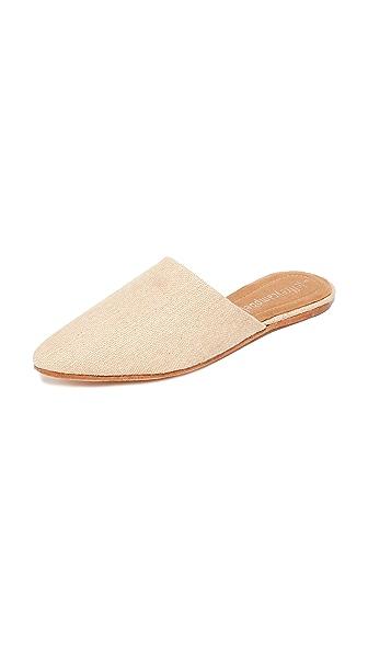 Jeffrey Campbell Doshi Linen Flat Mules - Natural Linen