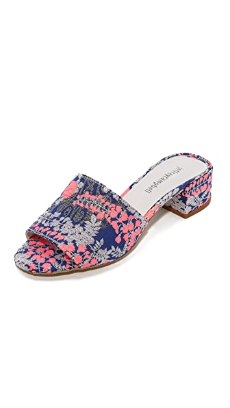 Jeffrey Campbell Beaton Floral Mules - Pink/Blue/Silver Floral