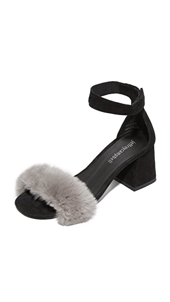 Jeffrey Campbell Fero Fur Sandals - Grey/Black