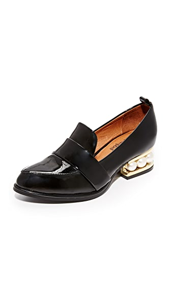 Jeffrey Campbell Zach Loafers In Black Patent & Gold