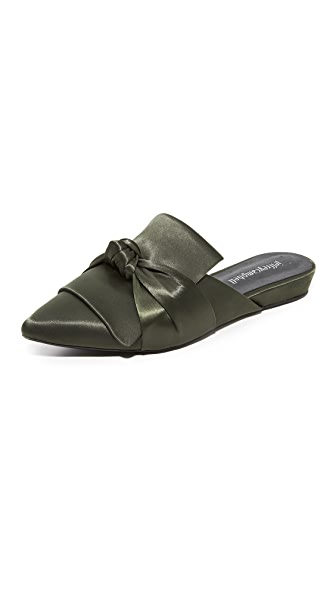 Jeffrey Campbell Dello Satin Bow Mules - Olive