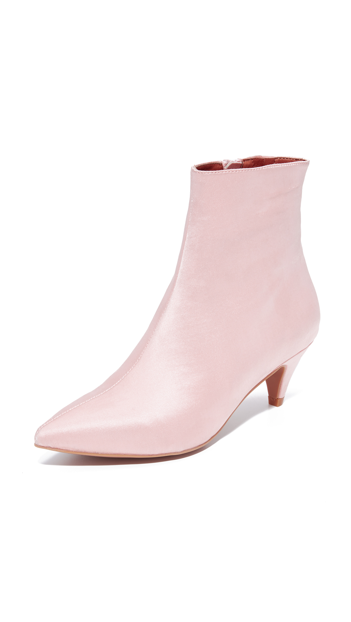 Jeffrey Campbell Muse Satin Kitten Heel Booties - Blush