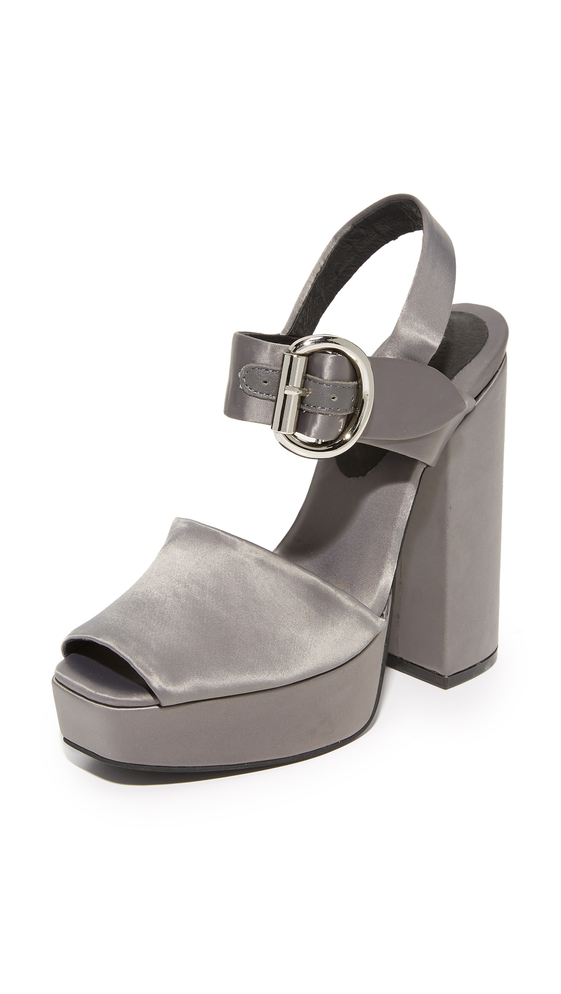 Jeffrey Campbell Mitra Satin Platform Sandals - Pewter
