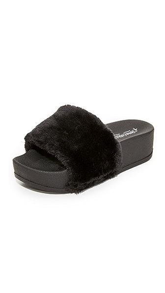Jeffrey Campbell Lucky Me Platform Faux Fur Slides - Black Mink Combo