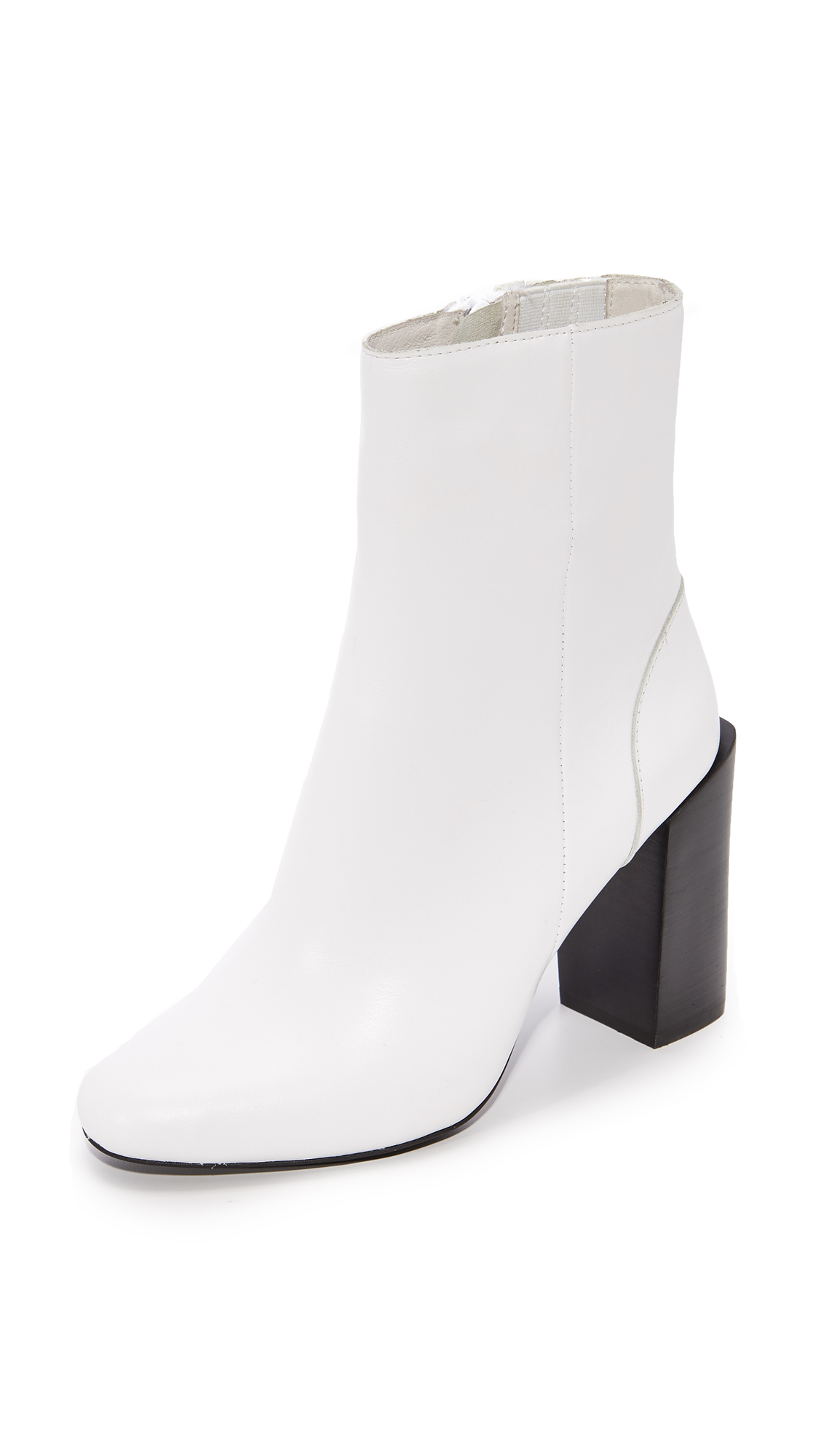 Jeffrey Campbell Stratford Stacked Heel Booties - White