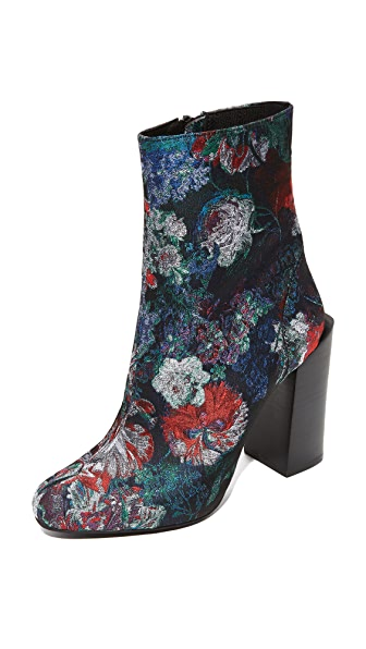 Jeffrey Campbell Stratford Stacked Heel Booties - Blue/Grey/Red