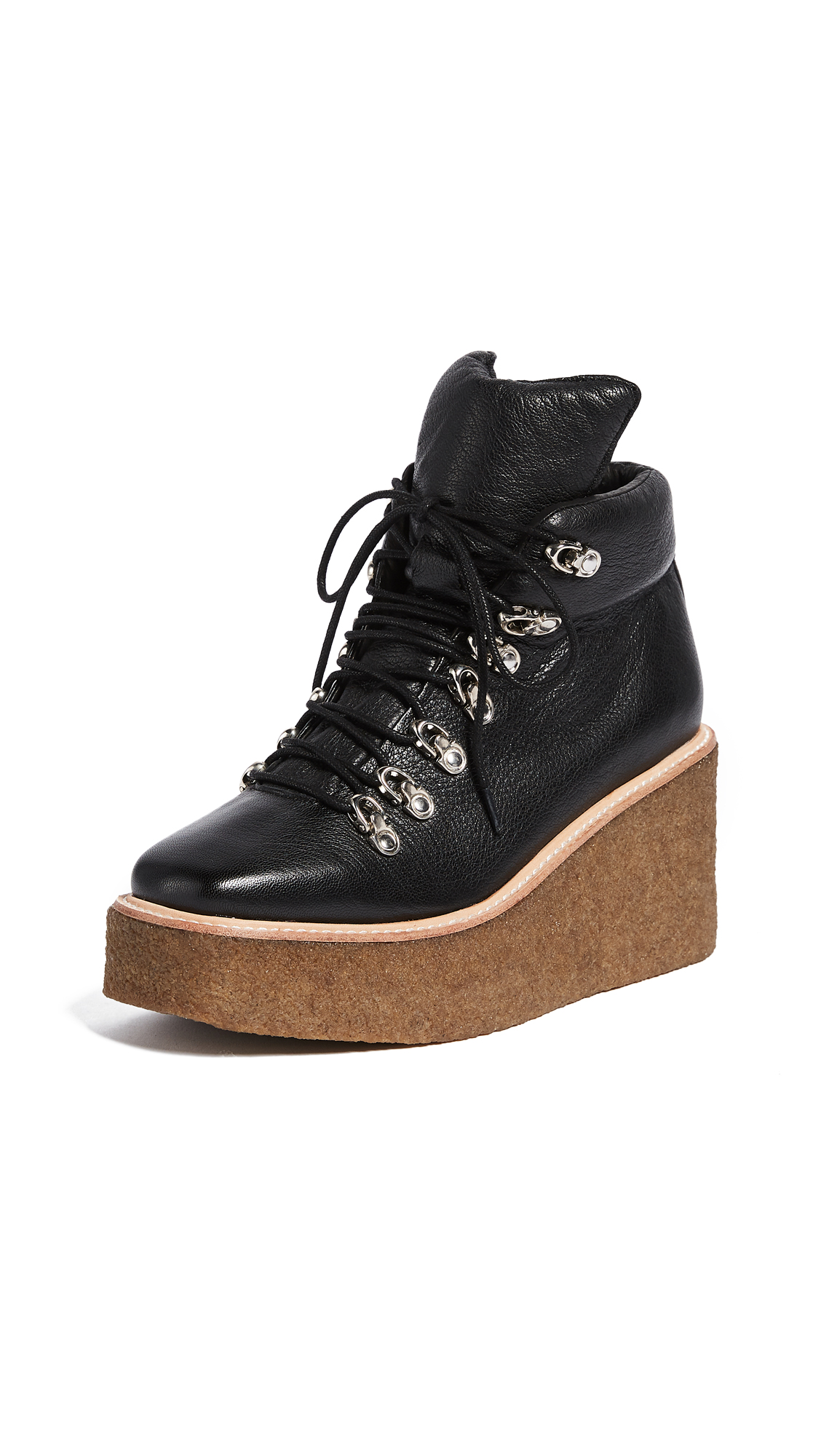 Jeffrey Campbell Viajar Wedge Hiker Booties - Black