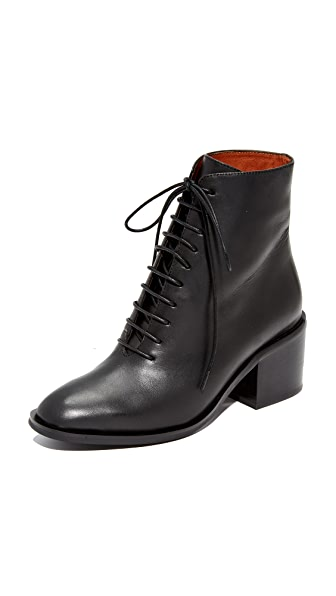 Jeffrey Campbell Talcott Stacked Heel Lace-Up Booties In Black