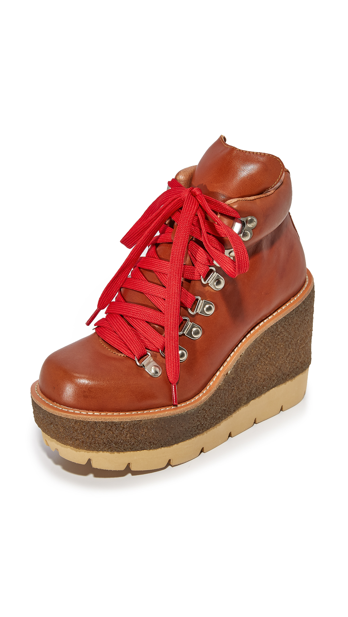 Jeffrey Campbell Explore Wedge Hiking Booties - Tan