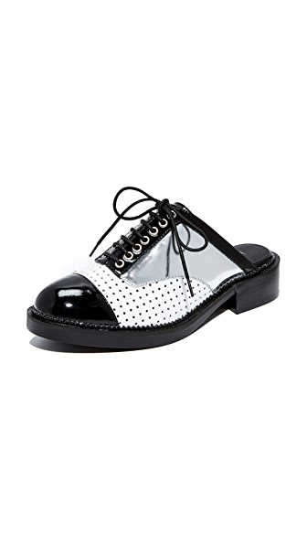 Jeffrey Campbell Leibovitz Slip On Oxford Mules - Black/White/Silver