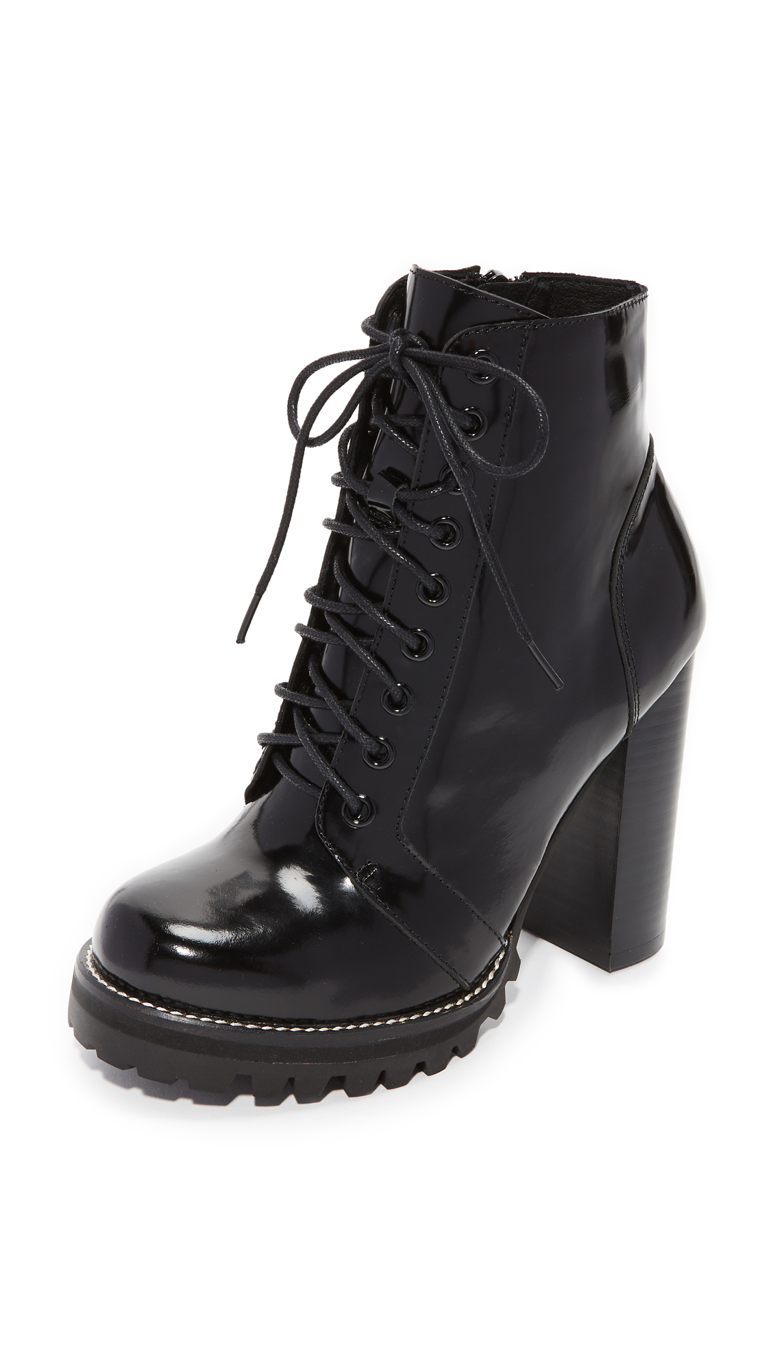 Jeffrey Campbell Legion Lace Up High Heel Booties - Black Box