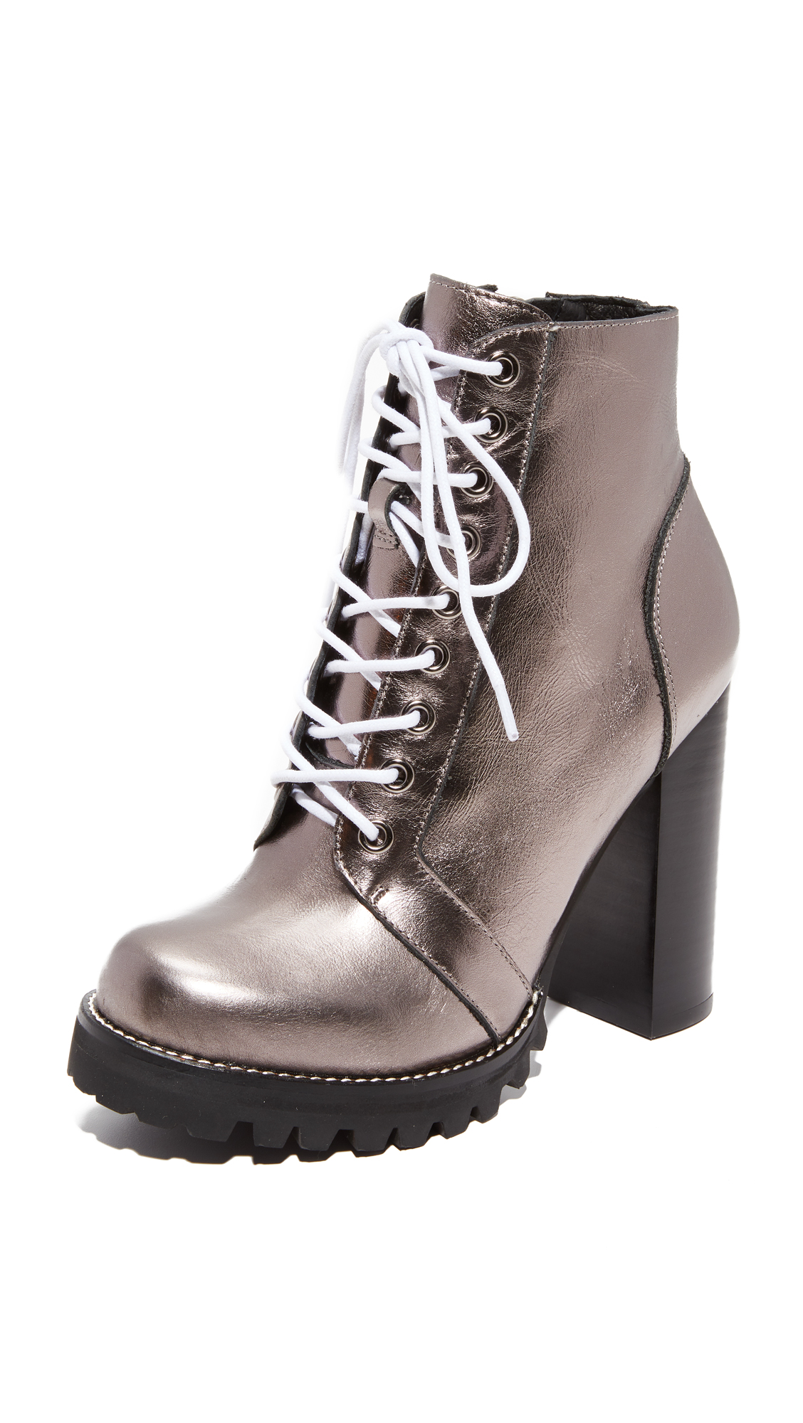 Jeffrey Campbell Legion Lace Up High Heel Booties - Pewter