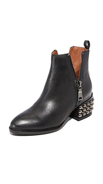 Jeffrey Campbell Boone Studded Heel Zip Booties - Black
