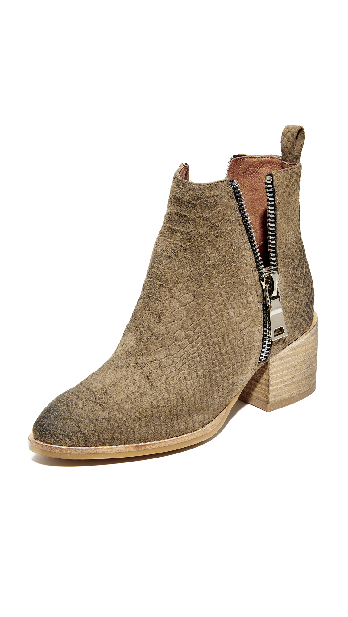 Jeffrey Campbell Boone Stacked Heel Booties - Khaki