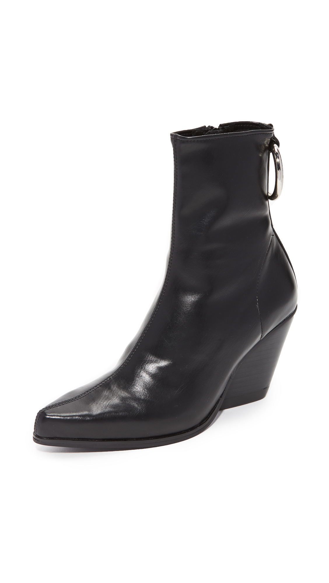 Jeffrey Campbell Walton Block Heel Pointed Booties - Black