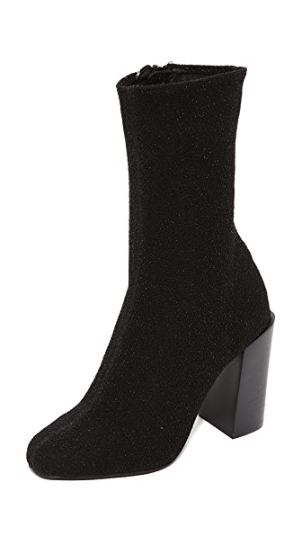 Jeffrey Campbell Perouze Stretch Ankle Booties In Black Lame
