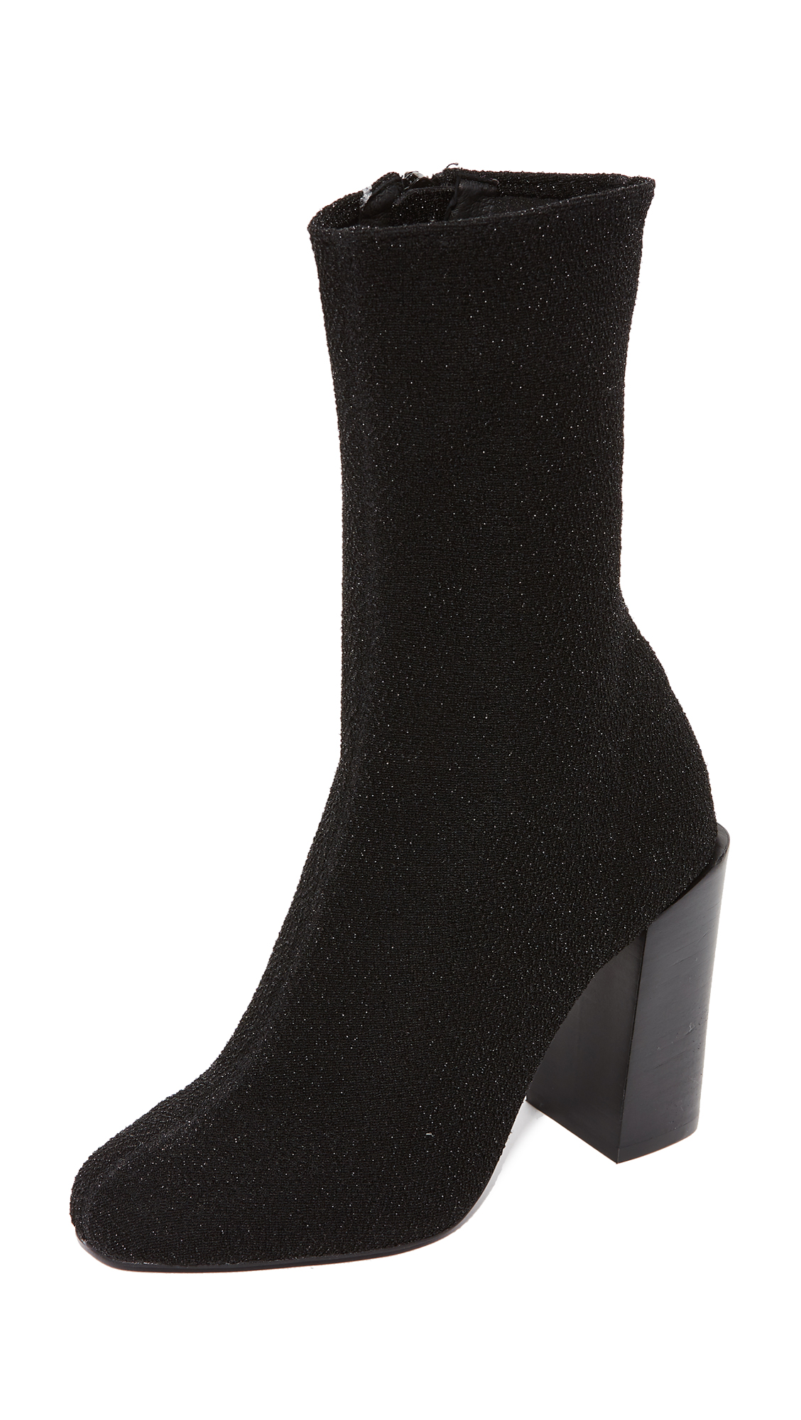 Jeffrey Campbell Perouze Stretch Ankle Booties - Black Lame