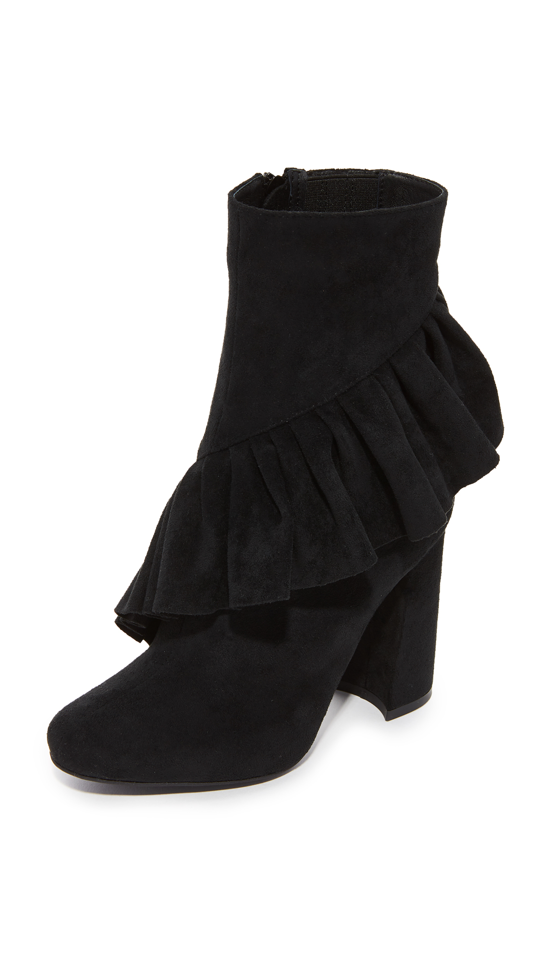 Jeffrey Campbell Reilly Ruffle Stretch Ankle Booties - Black
