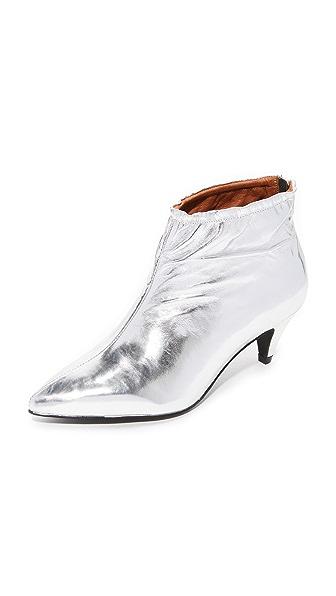 Jeffrey Campbell Zosia Low Heel Metallic Booties In Silver