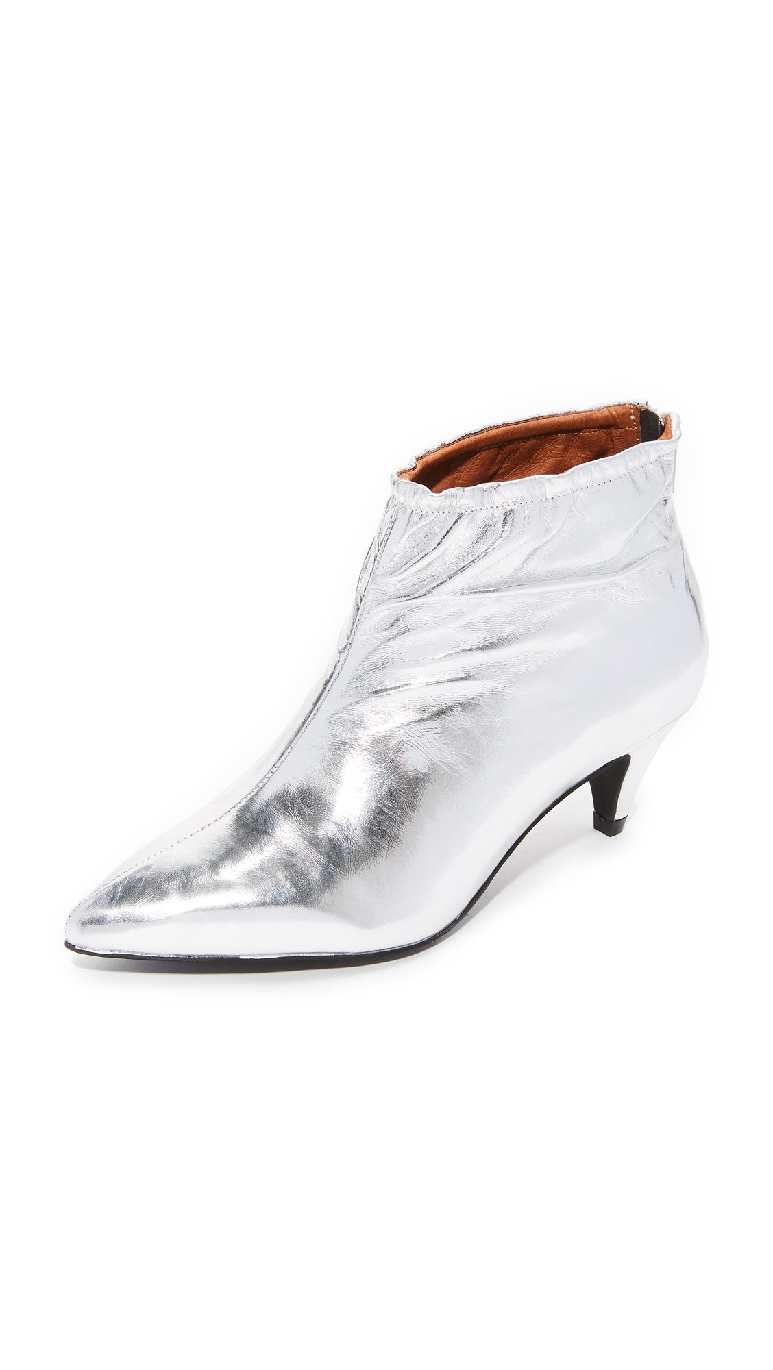 Jeffrey Campbell Zosia Low Heel Metallic Booties - Silver