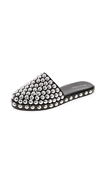 Jeffrey Campbell Rosebay Studded Slip On Mules In Black/Silver
