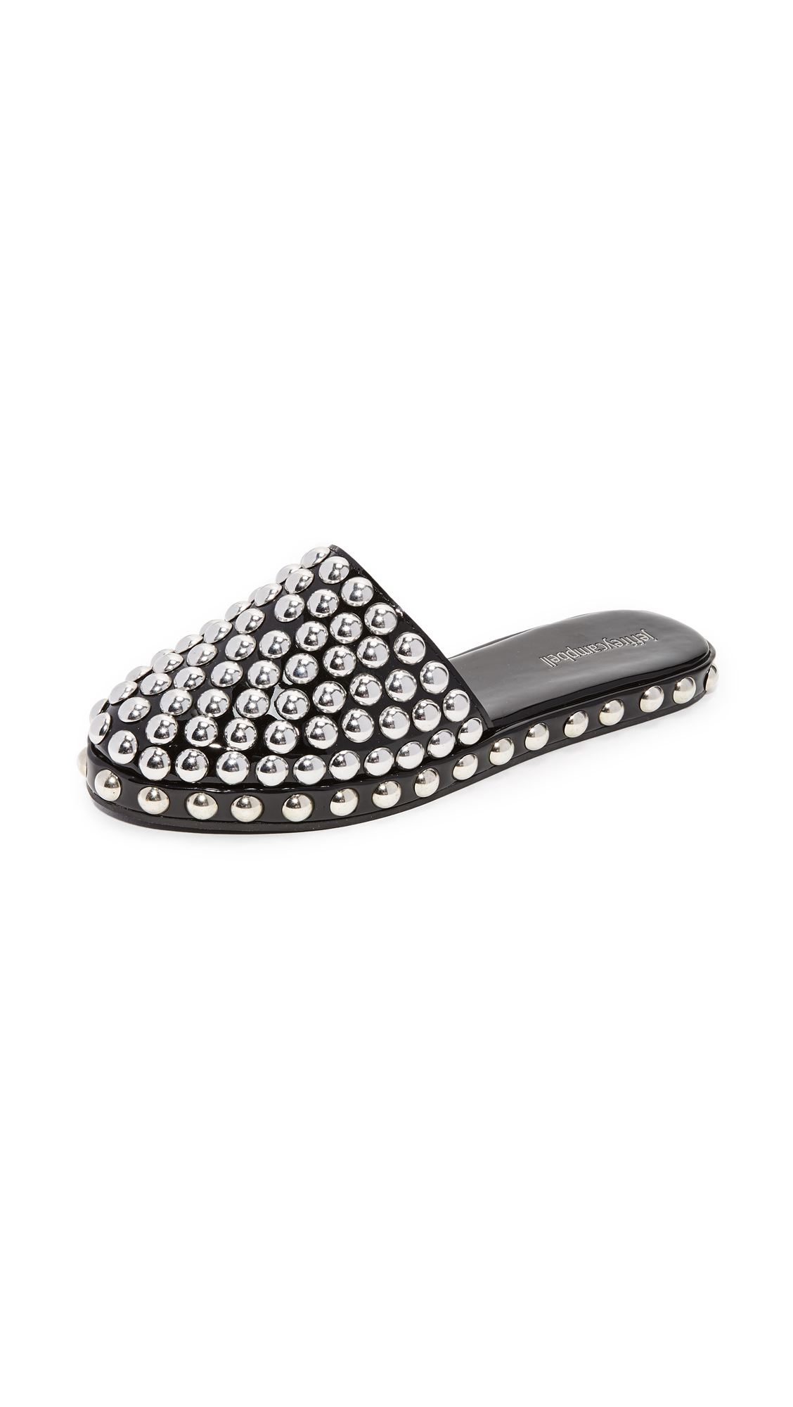 Jeffrey Campbell Rosebay Studded Slip On Mules - Black/Silver