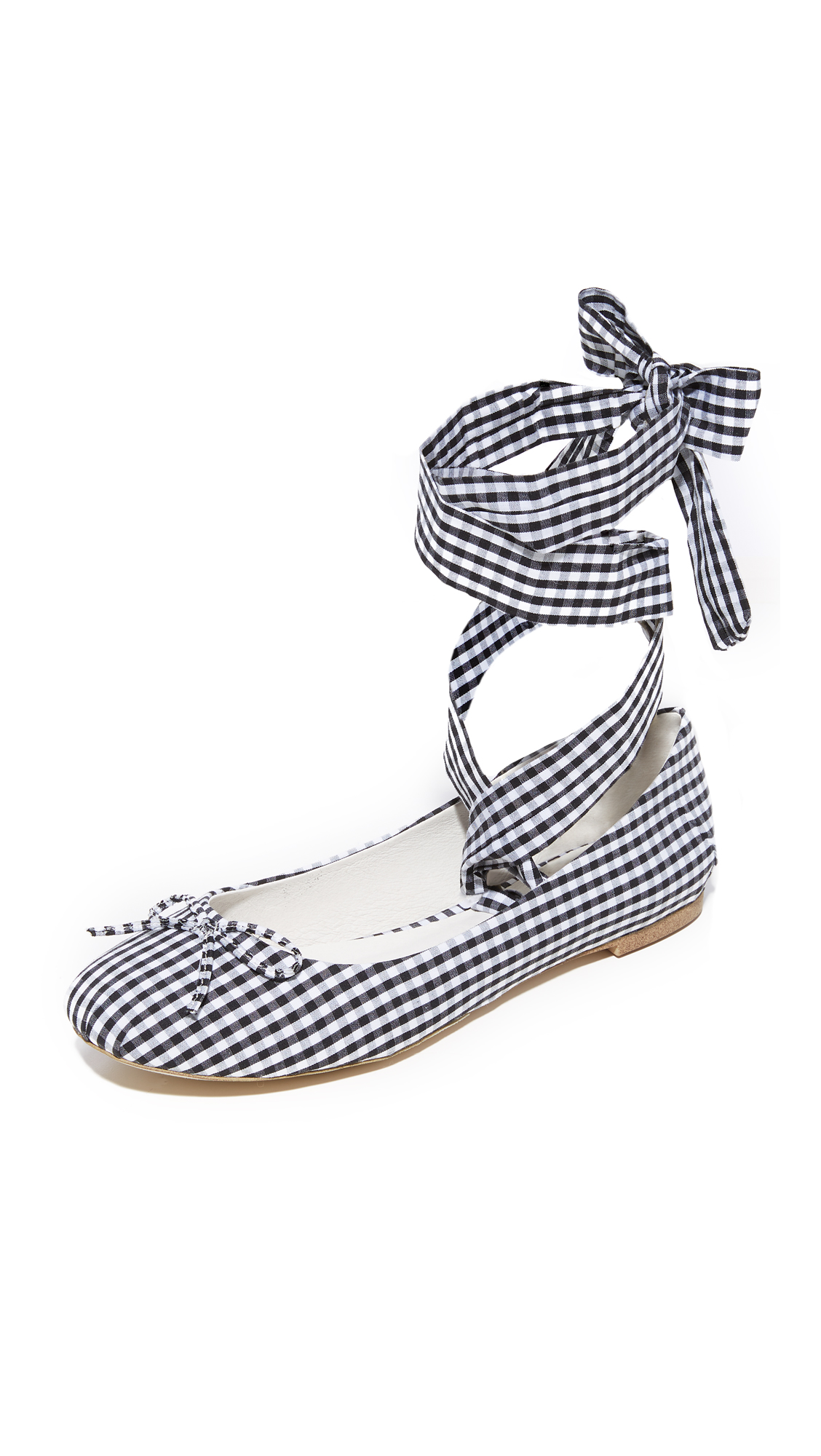 Jeffrey Campbell Sarine Tie Ballet Flats - Black Gingham