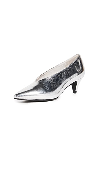 Jeffrey Campbell Carla Point Toe Pumps In Silver