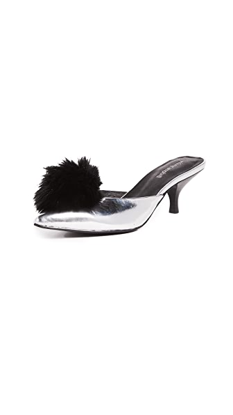 Jeffrey Campbell Jena2 Point Toe Pom Pom Mules In Silver