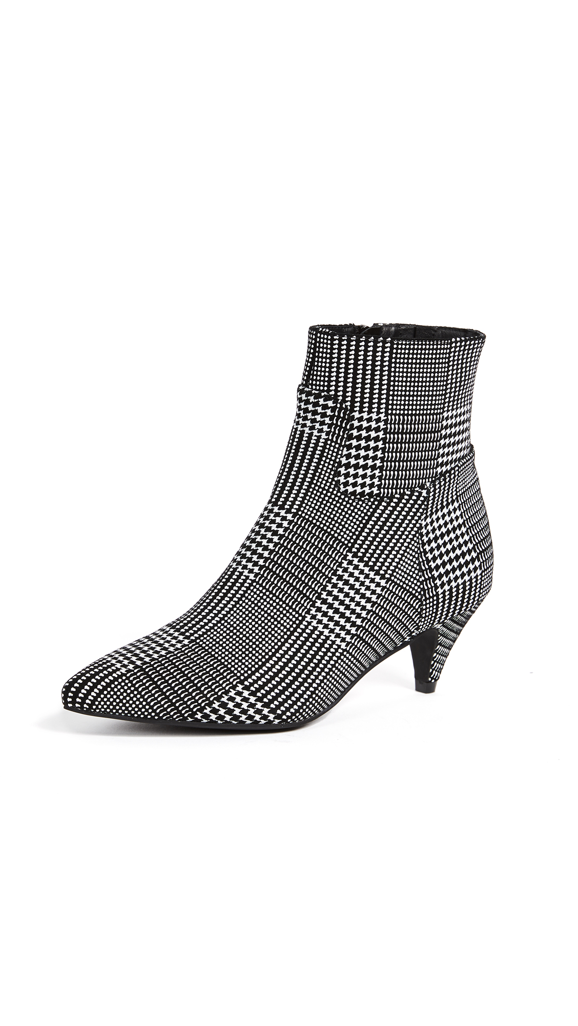 Jeffrey Campbell Muse Kitten Heel Booties - Black/White