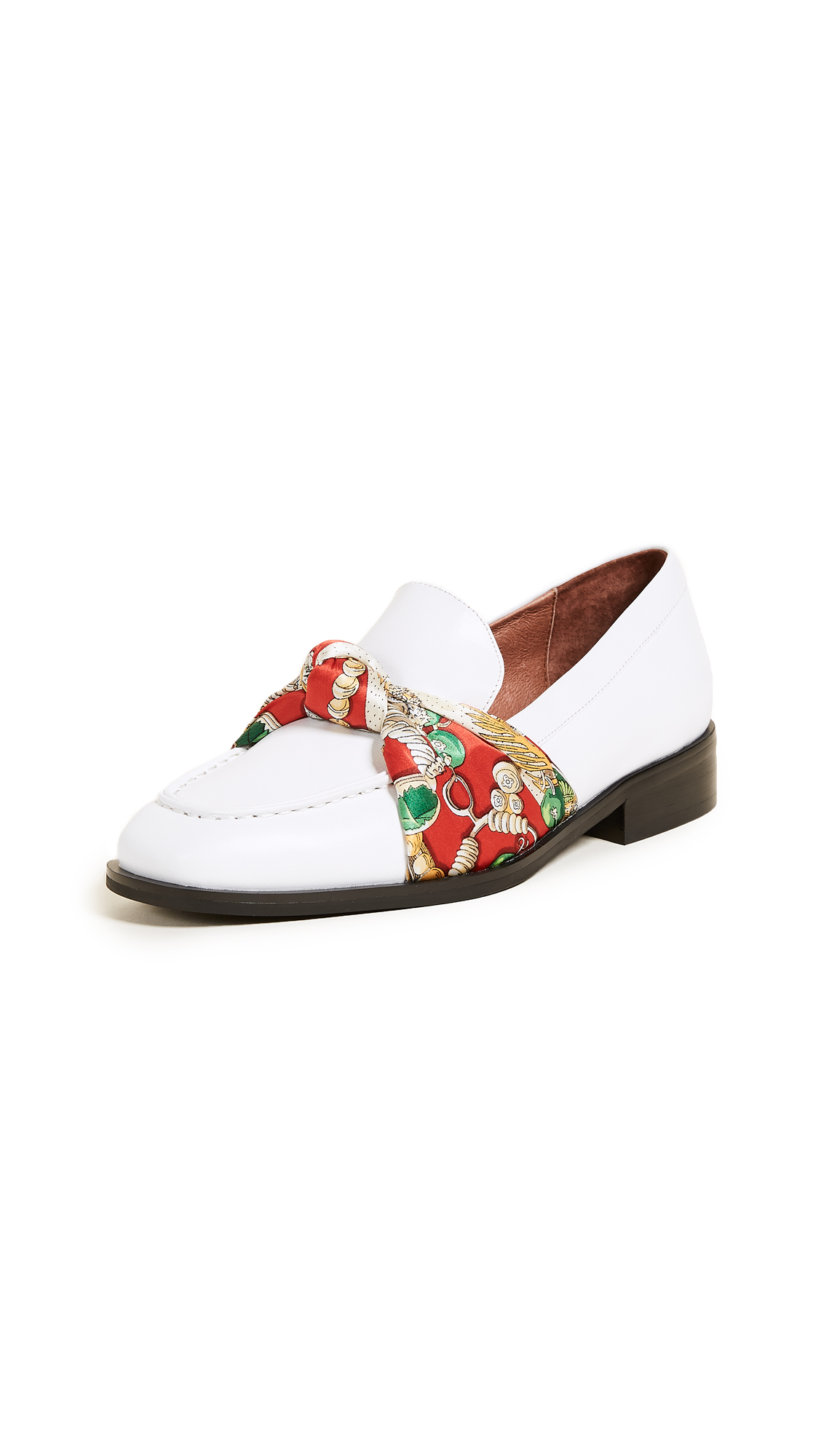 Jeffrey Campbell Bollero Scarf Loafers - White/Red