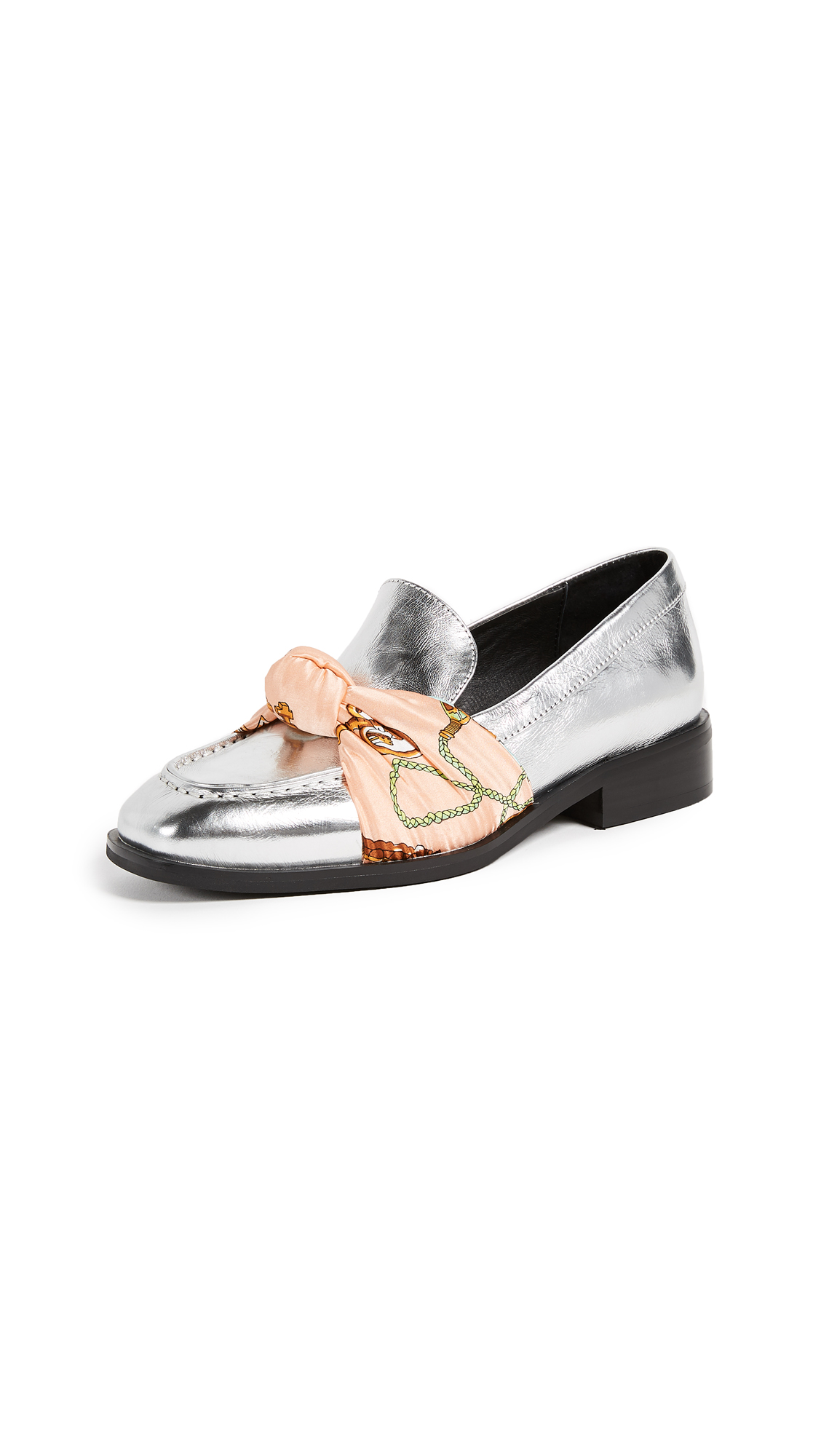 Jeffrey Campbell Bollero Scarf Loafers - Silver