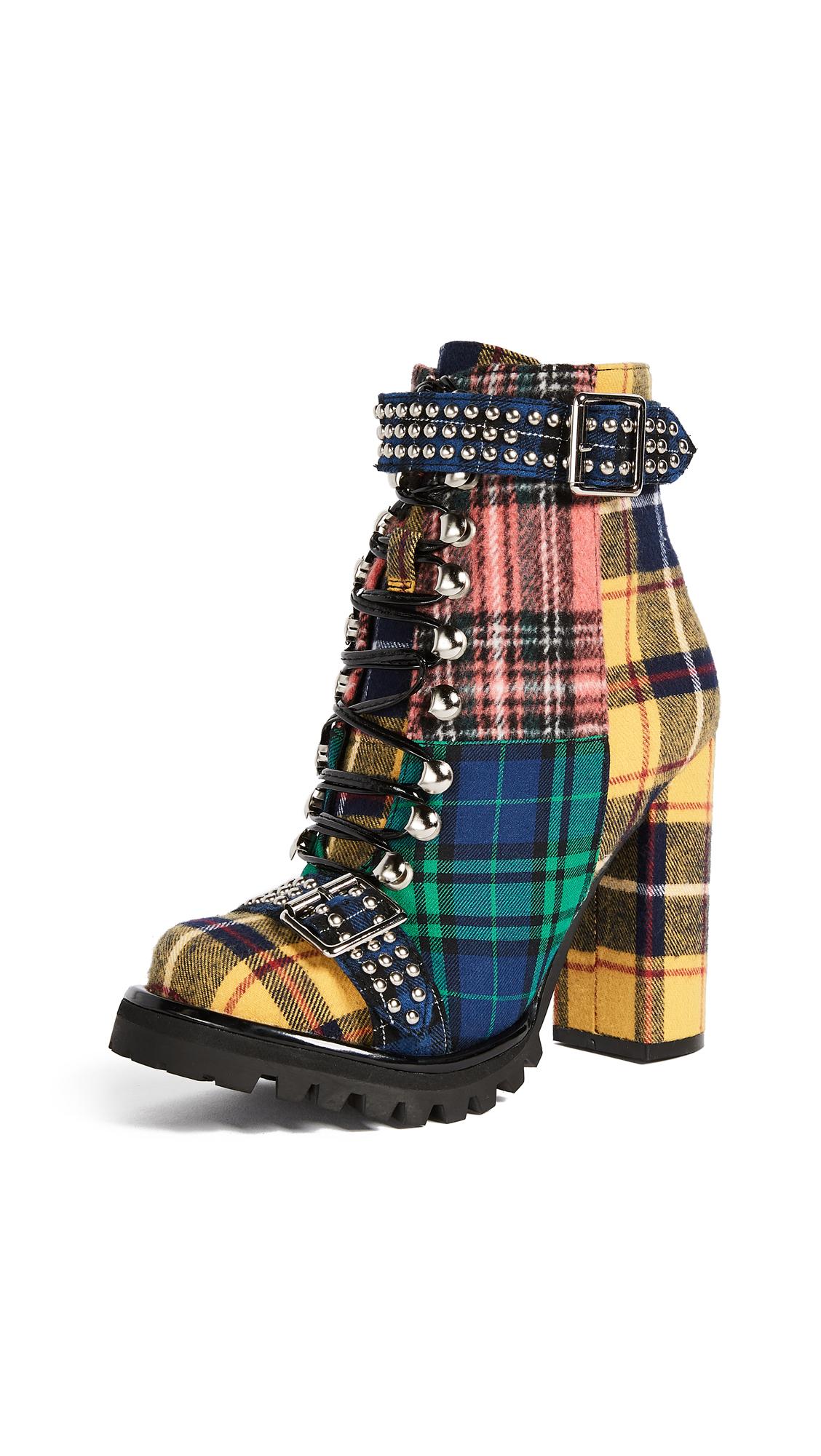 Jeffrey Campbell Lilith Block Heel Boots - Yellow/Green