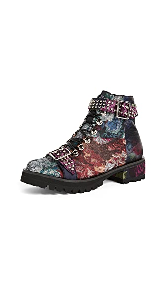 Jeffrey Campbell Yannick Floral Combat Boots In Multi