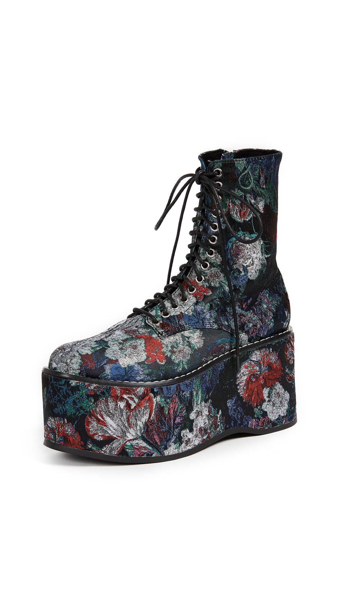 Jeffrey Campbell Bonfire Floral Platform Combat Boots - Blue/Grey