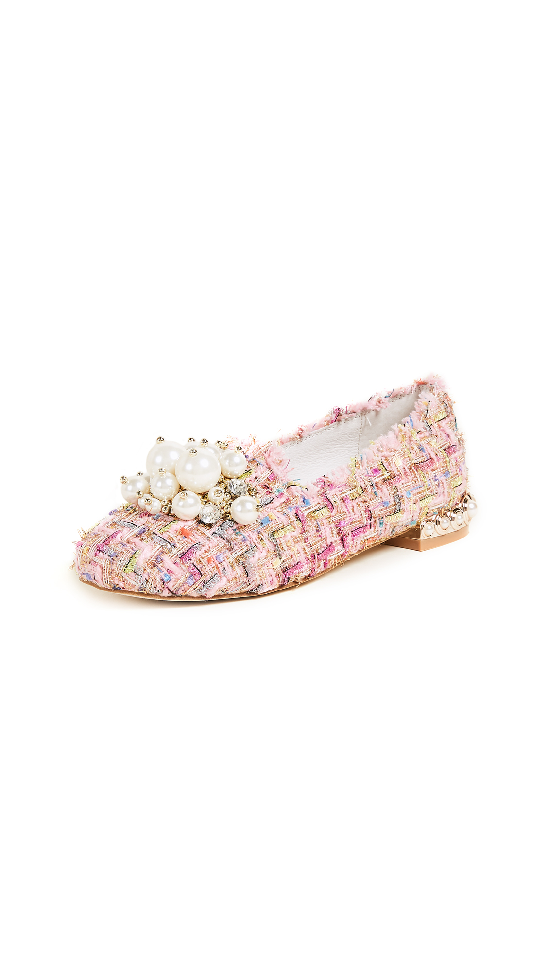 Jeffrey Campbell Honor Tweed Smoking Slippers - Pink Multi