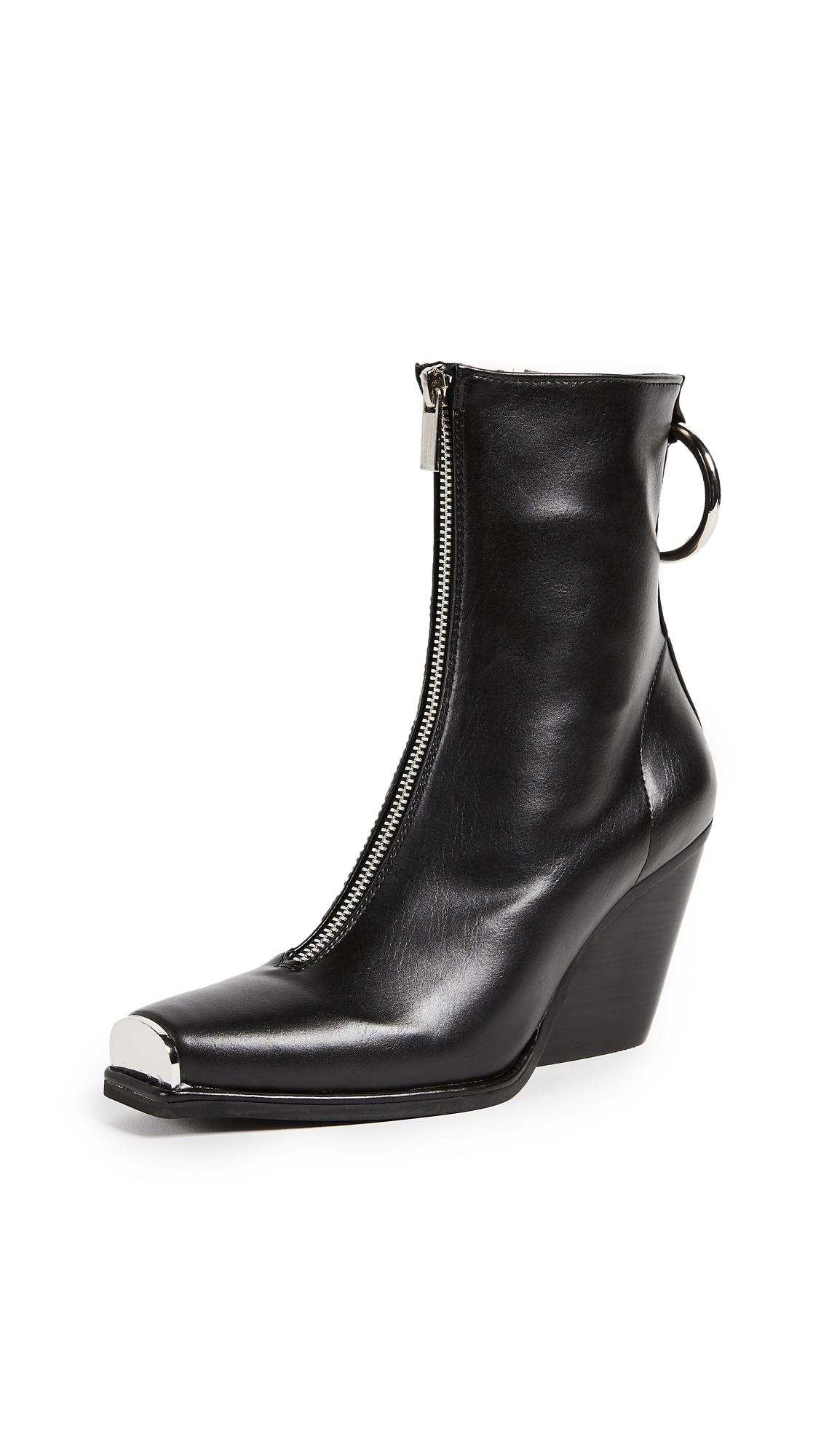 Jeffrey Campbell Welton Block Heel Boots - Black Silver