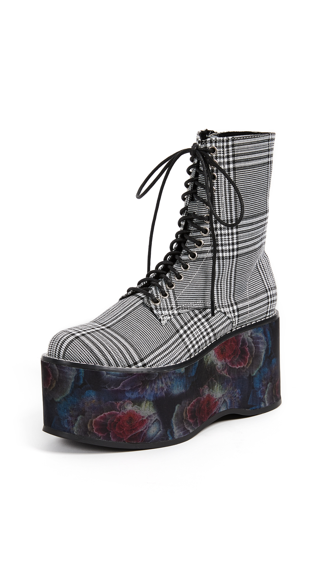 Jeffrey Campbell Bonfire Combat Boots - Black/White