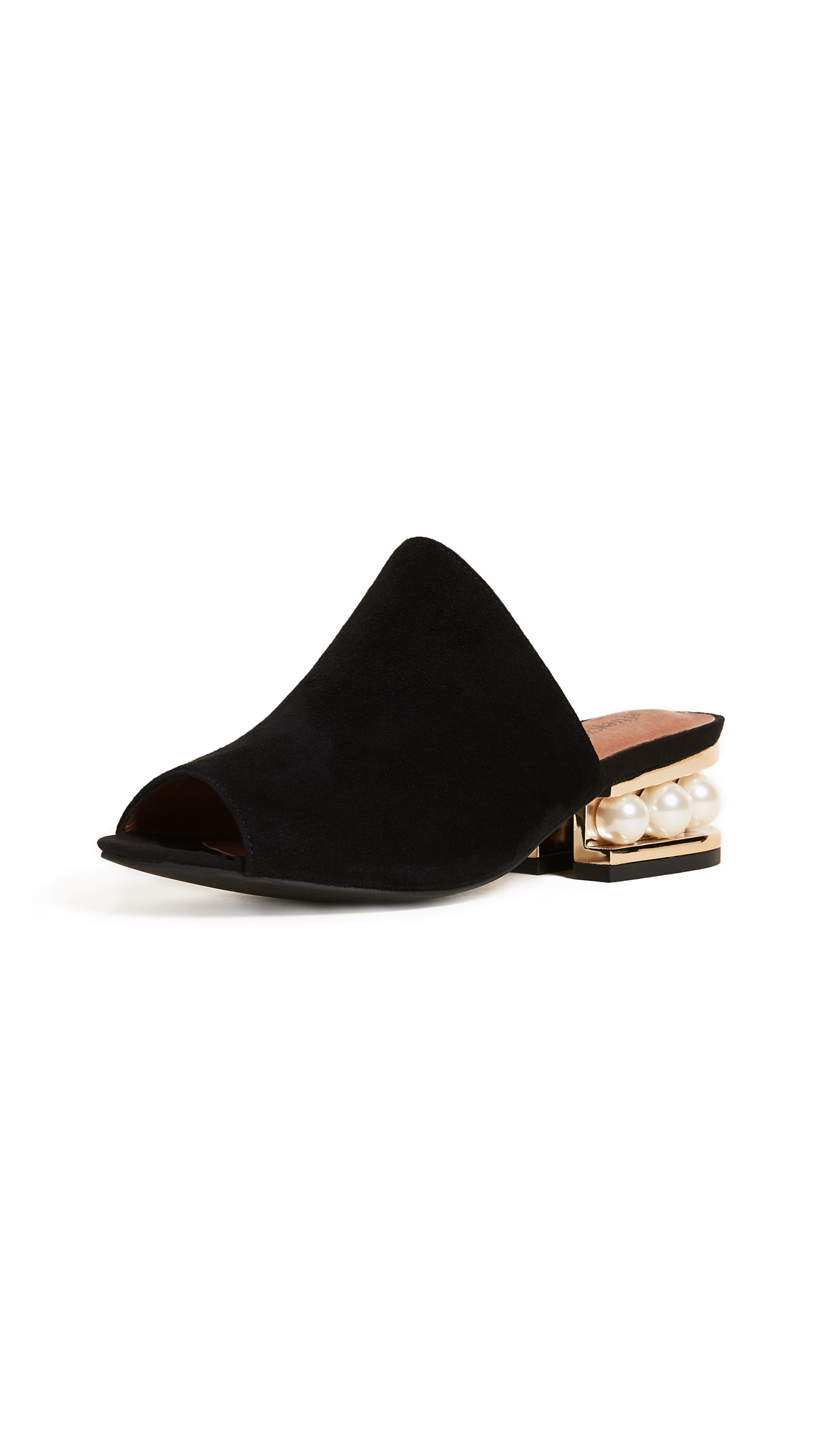 Jeffrey Campbell Arcita Mule Sandals - Black/Gold