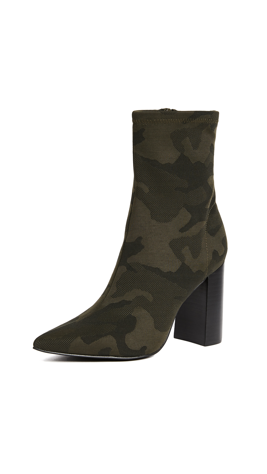 Jeffrey Campbell Siren Block Heel Ankle Booties - Khaki Black Camo