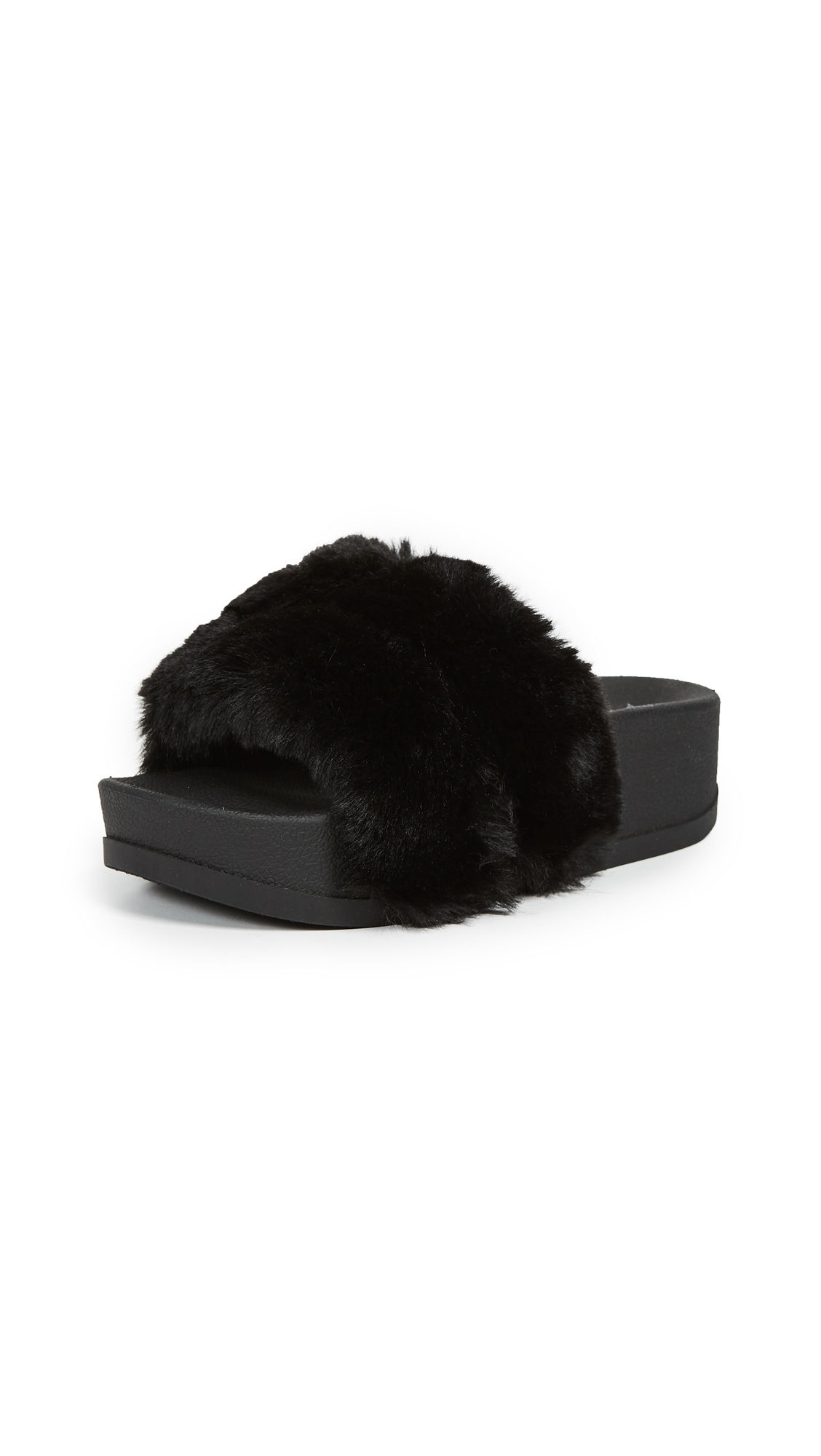 Jeffrey Campbell Lucky Double Strap Slides - Black